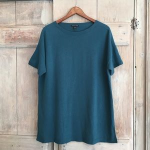 Eileen Fisher 100% Cashmere Blue Top Tunic Medium